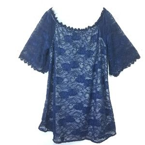 Women's Lace Off Shoulder Tunic Sz 2X